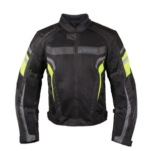 Мотокуртка RUSH MESH текстиль, цвет Черный/Серый/Желтый р.L