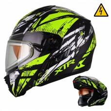 Шлем Снегоходный XTR MODE1 Tornado зеленый с электростеклом p.ХL