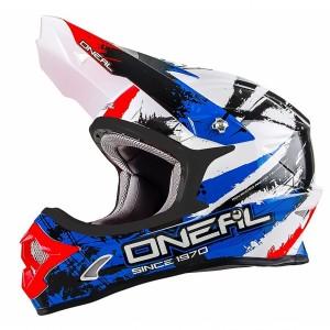 Шлем кроссовый ONEAL 3Series SHOCKER чёрно-сине-красный р.L