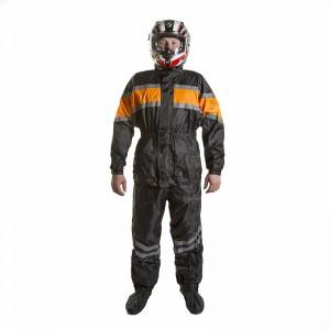Дождевик (куртка+брюки), цвет Черный/Оранжевый, Размер XXL